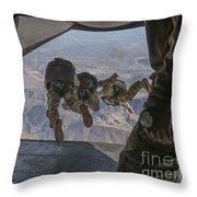 Sailors Jump Out Of A C2-a Greyhound Throw Pillow