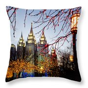 Slc Temple Lights Lamp Throw Pillow