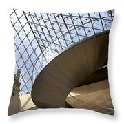 Stairs In Louvre Museum. Paris.  Throw Pillow by Bernard Jaubert