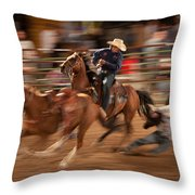 Steer Wrestling Action Throw Pillow