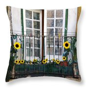 Sunflower Balcony Throw Pillow
