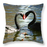 Swan Heart  Throw Pillow