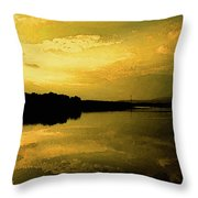 Watery Color Sunset Throw Pillow