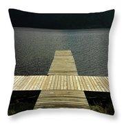 Wooden Pontoon Throw Pillow by Bernard Jaubert