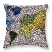 World Map Bottle Cap Mosaic Throw Pillow by Paul Van Scott