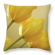 Yellow Tulip Trio Throw Pillow