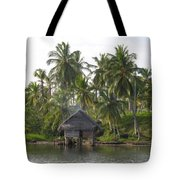 Isla Tigre - Hut Over Water And Palm Trees Tote Bag