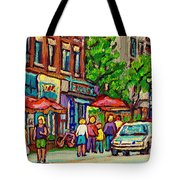 Monkland Tavern Corner Old Orchard Montreal Street Scene Painting Tote Bag by Carole Spandau
