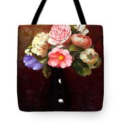 Red Roses In A Black Vase Tote Bag