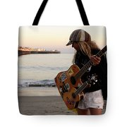Beach Musician Tote Bag by Bob Christopher