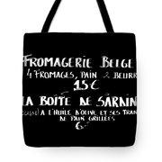 Belgian Cheese And Sardines Menu Tote Bag by Carol Groenen