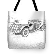 Drawing The Antique Car Tote Bag