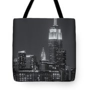Empire State And Chrysler Buildings At Twilight II Tote Bag