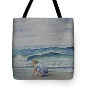 Finding Sand Crabs Tote Bag