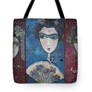 Geisha Love Triptych Tote Bag