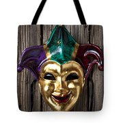Jester Mask Hanging On Wooden Wall Tote Bag
