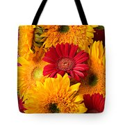 Sunflowers And Red Mums Tote Bag by Garry Gay