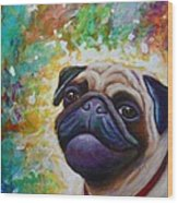 A Pugs World Wood Print