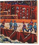 Snow Falling On The Hockey Rink Wood Print