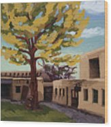 A Tree Grows In The Courtyard, Palace Of The Governors, Santa Fe, Nm Wood Print by Erin Fickert-Rowland