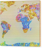 Abstract Earth Map 2 Wood Print by Bob Orsillo
