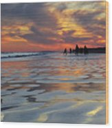 Beach Play At Dusk Wood Print