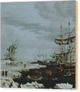 Hull Whalers In The Arctic  Wood Print by Thomas A Binks