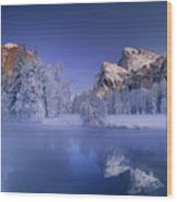 Moonrise Over Gates Of The Valley Yosemite National Park Wood Print