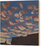 Sunset Clouds Over Santa Fe Wood Print by Erin Fickert-Rowland