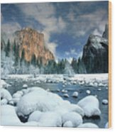Winter Storm In Yosemite National Park Wood Print