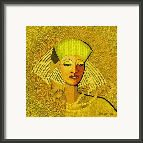 189 Metallic Woman Golden Pearls Framed Print By Irmgard Schoendorf Welch