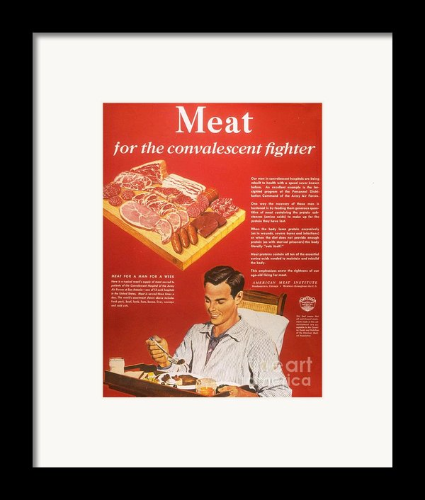 1940s Usa Convalescents Meat Eating Framed Print By The Advertising Archives