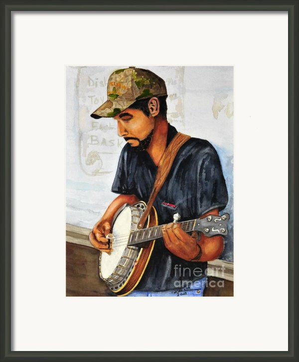 Banjo Player Framed Print By John W Walker