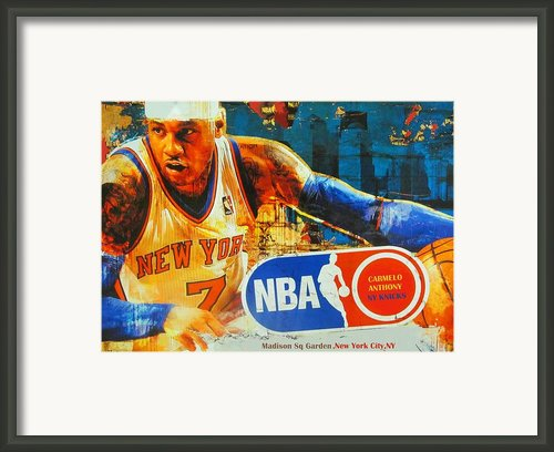 Carmelo Anthony - Melo - Ny Knicks Framed Print By Dan Haraga