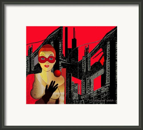 In Red   City Darkness  - 014  Framed Print By Irmgard Schoendorf Welch