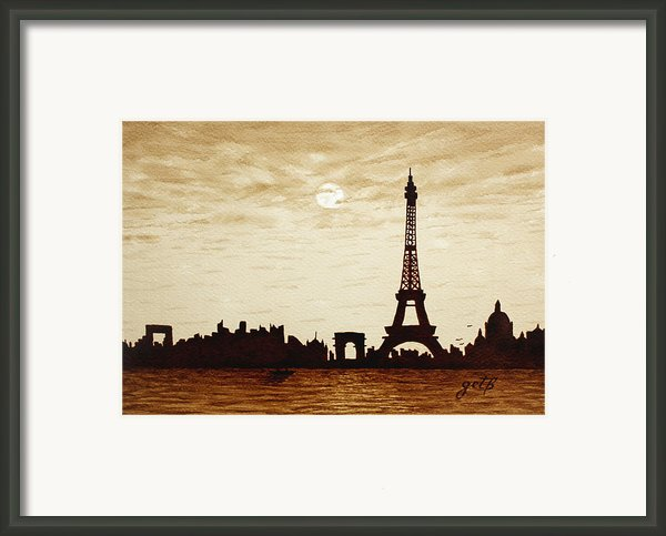 Paris Under Moonlight Silhouette France Framed Print By Georgeta  Blanaru