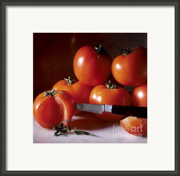Tomatoes And A Knife Framed Print By Bernard Jaubert