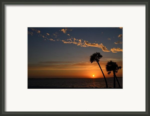 0502 Palms With Sunrise Colors On Santa Rosa Sound Framed Print By Jeff At Jsj Photography