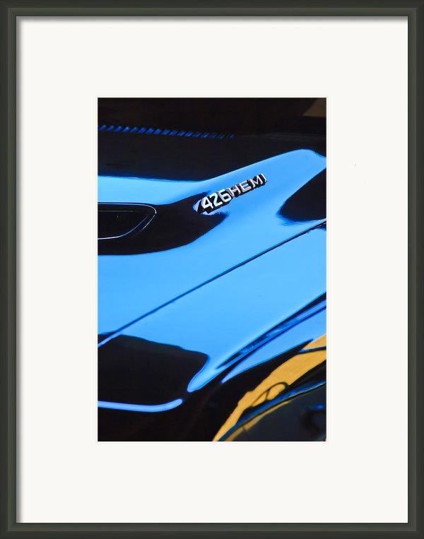 1971 Dodge 426 Hemi Challenger Rt Hood Emblem Framed Print By Jill Reger