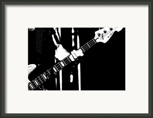 A Rock Star Plays Bass On Stage Framed Print By Tommy Hammarsten