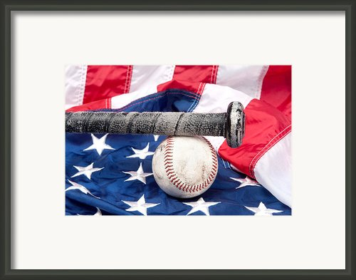Baseball On American Flag Framed Print By Joe Belanger