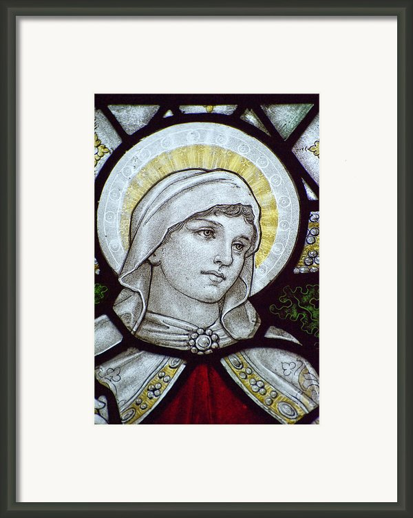 Beautiful Stained Glass Window Detail In 15th Century Saxon Chur Framed Print By Matthew Gibson