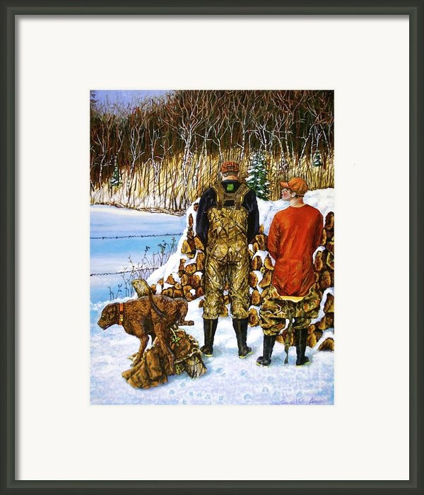 Behind The Wood Pile    Framed Print By Linda Simon