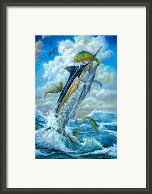 Big Jump Blue Marlin With Mahi Mahi Framed Print By Terry  Fox