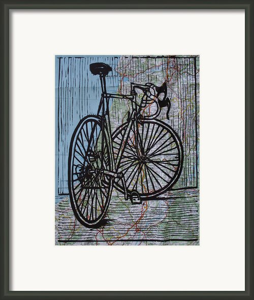 Bike 4 On Map Framed Print By William Cauthern
