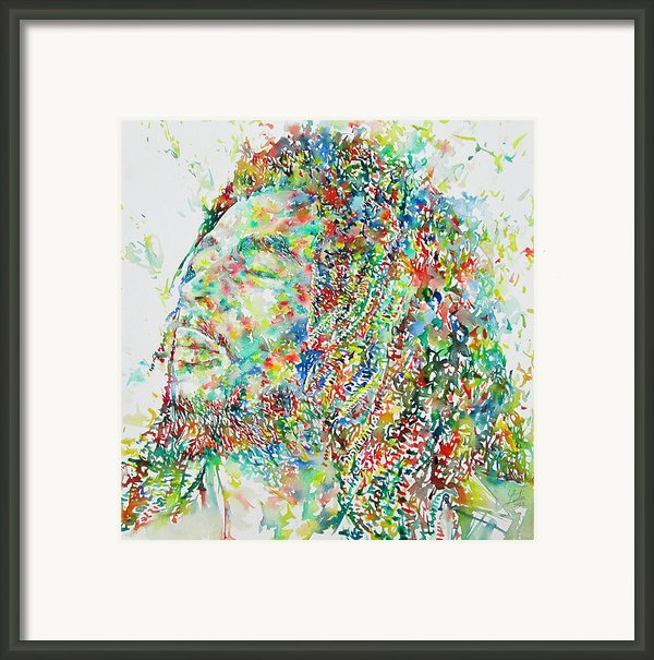 Bob Marley Watercolor Portrait.1 Framed Print By Fabrizio Cassetta