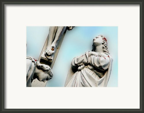 Christ On The Cross With Mourners Saint Joseph Cemetery Evansville Indiana 2008 Framed Print By John Hanou