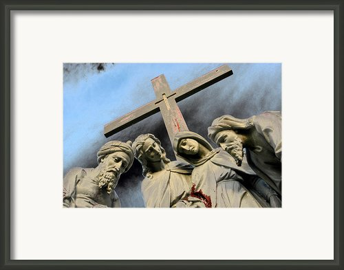 Christ On The Cross With Mourners St. Joseph Cemetery Evansville Indiana 2006 Framed Print By John Hanou