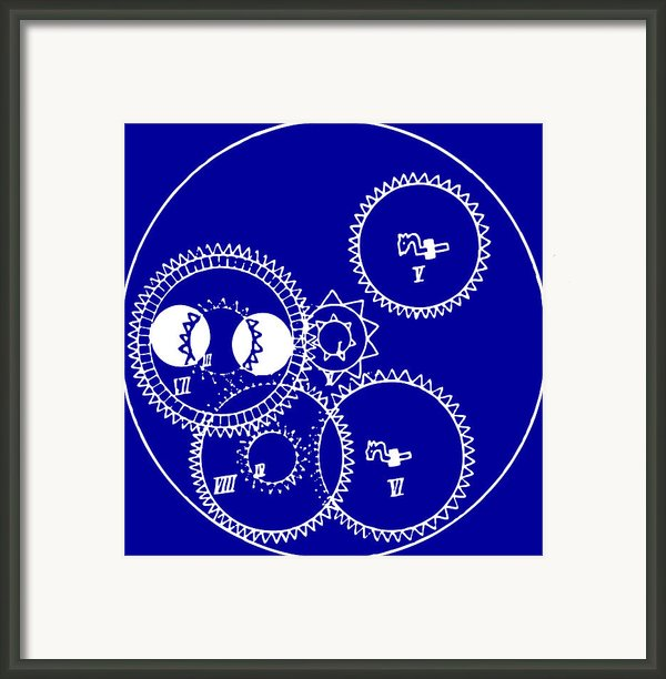 Clock Gears Blueprint Framed Print By