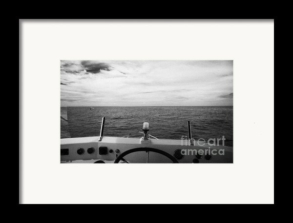 Controls On The Flybridge Deck Of A Charter Fishing Boat In The Gulf Of Mexico Out Of Key West Flori Framed Print By Joe Fox